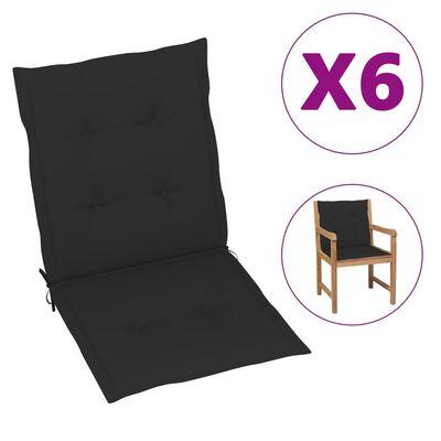 "vidaXL Garden Chair Cushions 6 pcs Black 39.4""x19.7""x1.6"""