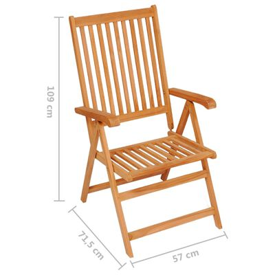 vidaXL Garden Chairs 4 pcs with Anthracite Cushions Solid Teak Wood