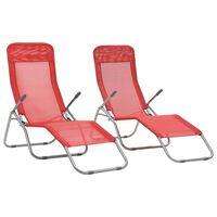 vidaXL Folding Sun Loungers 2 pcs Textilene Red