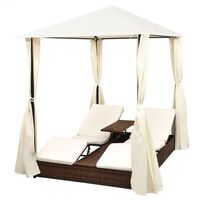 vidaXL Double Sun Lounger with Curtains Poly Rattan Brown