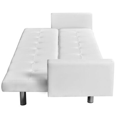 vidaXL Sofa Bed with Armrest White Artificial Leather