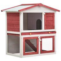 vidaXL Outdoor Rabbit Hutch 3 Doors Red Wood