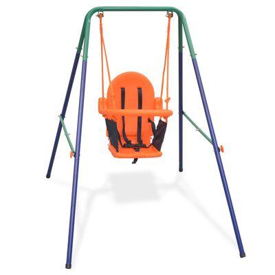 vidaXL Toddler Swing Set with Safety Harness Orange