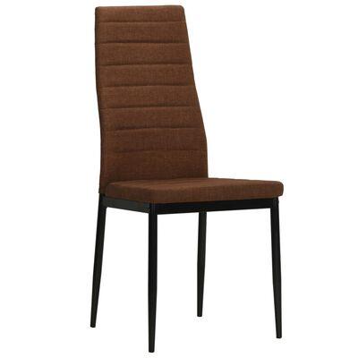vidaXL Dining Chairs 2 pcs Brown Fabric