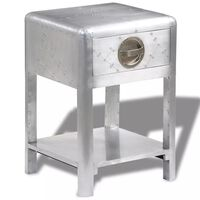 vidaXL Aviator End Table with 1 Drawer Vintage Aircraft Airman Style