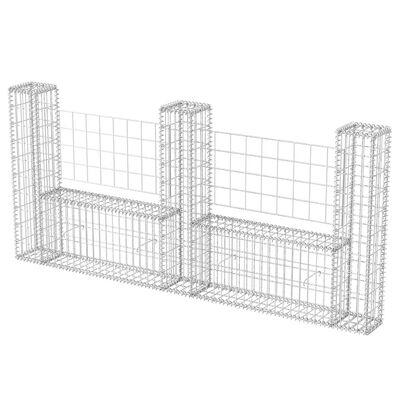 "vidaXL Gabion Basket U-Shape Galvanised Steel 94.5""x7.9x39.4"""