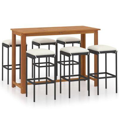 vidaXL 7 Piece Garden Bar Set with Cushions Black