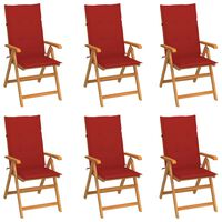 vidaXL Garden Chairs 6 pcs with Red Cushions Solid Teak Wood