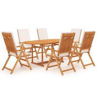 vidaXL 9 Piece Garden Dining Set with Cushions Solid Teak Wood