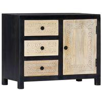 "vidaXL Hand Carved Side Cabinet Gray 29.5""x13.8""x23.6"" Solid Mango Wood"