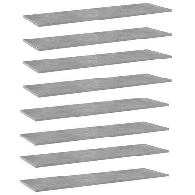 "vidaXL Bookshelf Boards 8 pcs Concrete Gray 39.4""x11.8""x0.6"" Chipboard"