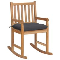 vidaXL Rocking Chair with Anthracite Cushion Solid Teak Wood