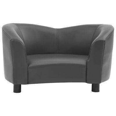 "vidaXL Dog Sofa Gray 26.4""x16.1""x15.4"" Faux Leather"