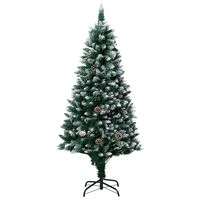 """vidaXL Artificial Christmas Tree with Pine Cones and White Snow 59.1"""""""