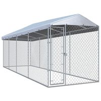 """vidaXL Outdoor Dog Kennel with Roof 299""""x75.6""""x88.6"""""""
