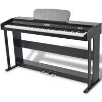 vidaXL 88-key Digital Piano with Pedals Black Melamine Board