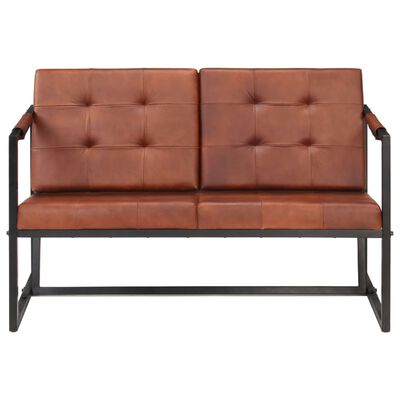 vidaXL 2-Seater Sofa Brown Real Goat Leather