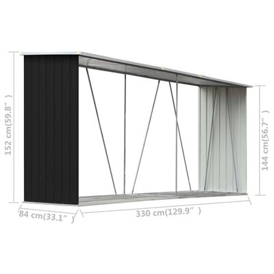 """vidaXL Garden Log Storage Shed Galvanized Steel 129.9""""x33.1""""x59.8"""" Anthracite"""