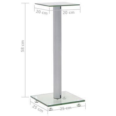vidaXL Speaker Stands 2 pcs Tempered Glass 1 Pillar Design Silver