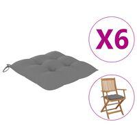 """vidaXL Chair Cushions 6 pcs Gray 15.7x15.7""""x2.8"""" Fabric"""""""