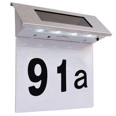 vidaXL Solar LED House Number Light Stainless Steel