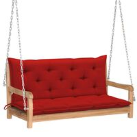 """vidaXL Swing Bench with Red Cushion 47.2"""" Solid Teak Wood"""
