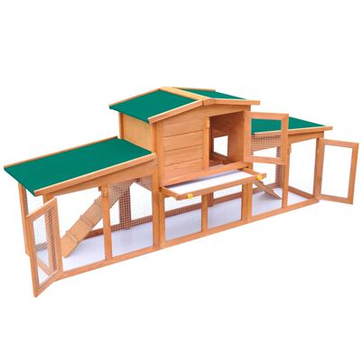 Large Rabbit Hutch Small Animal House Pet Cage with 2 Runs Wood