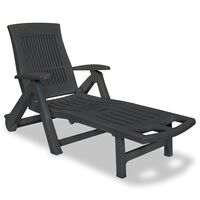 vidaXL Sun Lounger with Footrest Plastic Anthracite