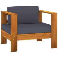 vidaXL Garden Sofa Chair with Cushion Dark Gray Solid Acacia Wood