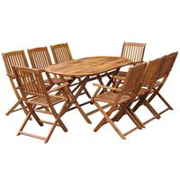 vidaXL 9 Piece Folding Outdoor Dining Set Solid Eucalyptus Wood