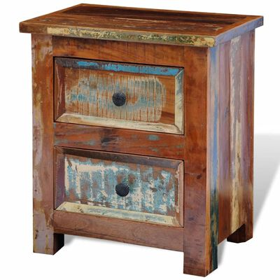 vidaXL Nightstand with 2 Drawers Solid Reclaimed Wood