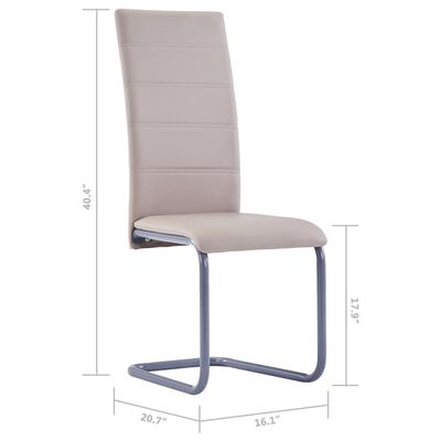 282099 vidaXL Cantilever Dining Chairs 2 pcs Cappuccino Faux Leather
