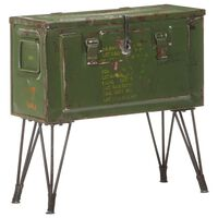"vidaXL Storage Trunk Military Style 26.8""x9.4""x26"" Iron"