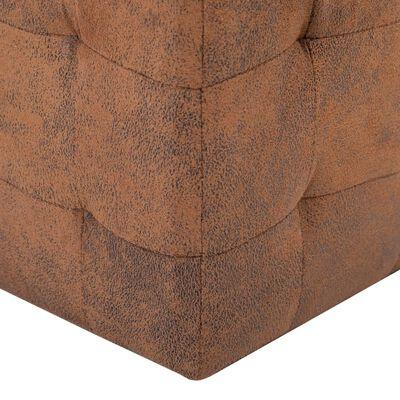 "vidaXL Pouffe 2 pcs Brown 11.8""x11.8""x11.8"" Faux Suede Leather"