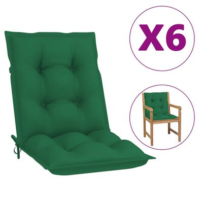 "vidaXL Garden Chair Cushions 6 pcs Green 39.4""x19.7""x2.8"""