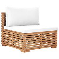 vidaXL Garden Middle Sofa with Cream Cushion Solid Teak Wood