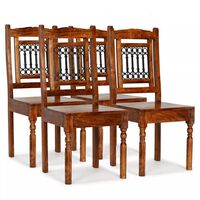 vidaXL Dining Chairs 4 pcs Solid Wood with Sheesham Finish Classic