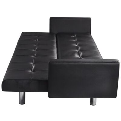 vidaXL Sofa Bed with Armrest Black Artificial Leather