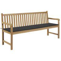 """vidaXL Garden Bench with Anthracite Cushion 68.9"""" Solid Teak Wood"""