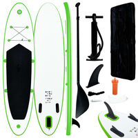 vidaXL Inflatable Stand Up Paddle Board Set Green and White