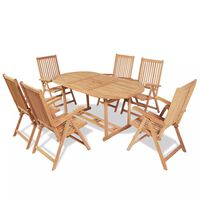 vidaXL 9 Piece Garden Dining Set Solid Teak Wood