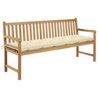 """vidaXL Garden Bench with Cream White Cushion 68.9"""" Solid Teak Wood"""