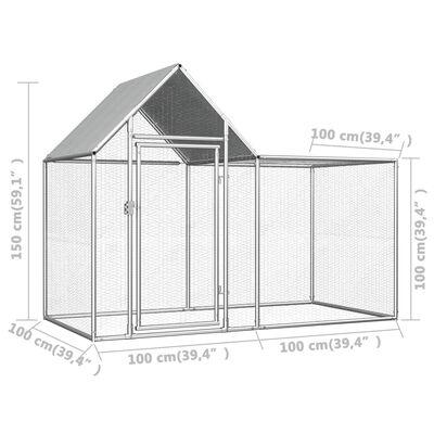 vidaXL Chicken Coop 6.6'x3.3'x4.9' Galvanized Steel