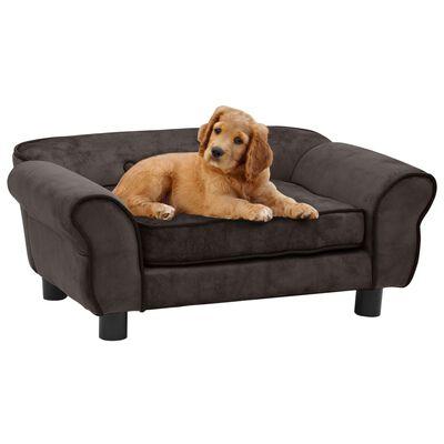 "vidaXL Dog Sofa Brown 28.3""x17.7""x11.8"" Plush"