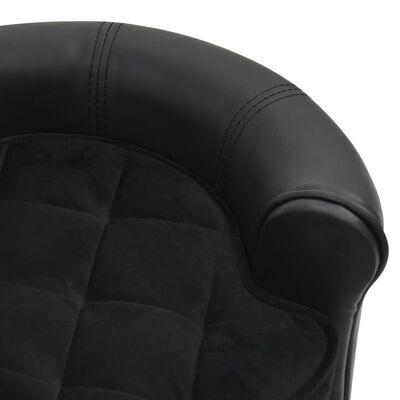 "vidaXL Dog Sofa Black 18.9""x18.9""x12.6"" Plush and Faux Leather"