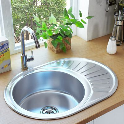 vidaXL Kitchen Sink with Strainer and Trap Oval Stainless Steel