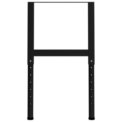 "vidaXL Adjustable Work Bench Frames 2 pcs Metal 21.7""x(27.2""-37.6"") Black"