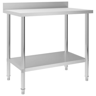 "vidaXL Kitchen Work Table with Backsplash 39.4""x23.6""x36.6"" Stainless Steel"