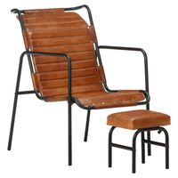 vidaXL Relaxing Armchair with a Footrest Brown Real Leather