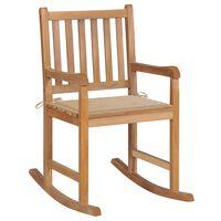 vidaXL Rocking Chair with Beige Cushion Solid Teak Wood